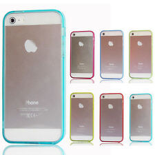 Transparent Clear Hard Back TPU Bumper Dust Plug Case Cover for iPhone 5G 5Gs 5S
