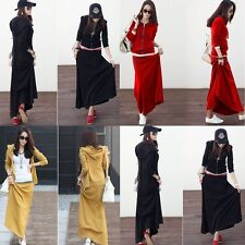Women Long Sleeve Hoodie Hooded Sweats Coat And Bust Skirt Maxi Dress 2pc Suit