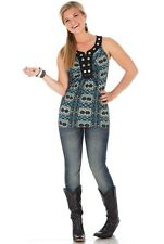 Womens Wrangler Rock 47 Tank Blue & Ivory Aztec Print Medium MPN LJK853M NEW