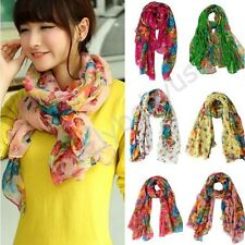 Colorful Women's Cotton Linen Rural Style Flower Beautiful Long Silk Scarf Shawl