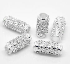 """Wholesale Lots Silver Plated Rhinestone Tube Spacer Beads 23x10mm(7/8""""x3/8"""")"""