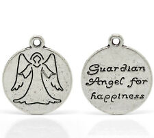 "Wholesale Lots Silver Tone Angel Charm Round Pendants 20mm x 18mm(3/4""x3/4"")"