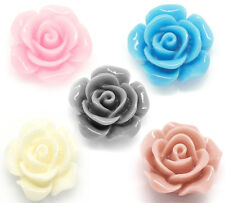 Wholesale Lots Mixed Resin Flower Embellishments Jewelry Making Findings 14x6mm