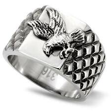 MEN'S STAINLESS STEEL EAGLE USA UNITED STATES MILITARY BIKER PATRIOTIC RING