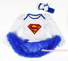 Super Hero White Cotton L/S Girls Costume Bodysuit Royal Blue Baby Dress NB-18M