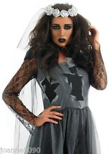 LADIES SEXY BLACK GHOST CORPSE BRIDE LADY HALLOWEEN FANCY DRESS COSTUME ALL SIZE