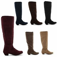 NEW LADIES LOW HEEL KNEE HIGH STRETCH CALF ZIP UP PIXIE LONG BOOTS SIZE UK 3-8
