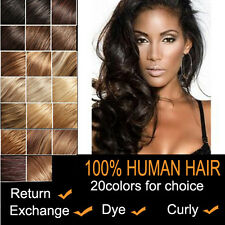 CLIP IN REMY REAL HUMAN HAIR EXTENSIONS 7PCS FULL HEAD 18COLORS ANY LENGTH US
