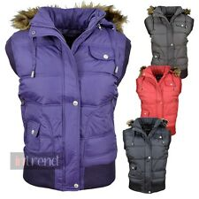 LADIES PADDED GILET WOMENS FAUX FUR HOODED BODYWARMER JACKET WAISTCOAT UK 10-16