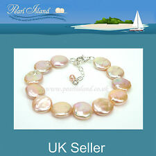 Peach Pink Freshwater Coin Pearl Bracelet - Pearl Island