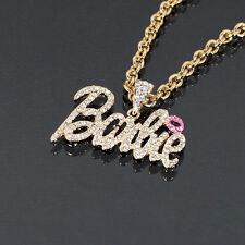 Iced Out Rhinestone BARBIE Necklace Celebrity Style