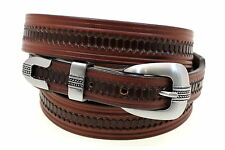 "Tapered 1 1/4"" to 1"" Embossed Rich Brown Bridle Leather Belt Made In America"
