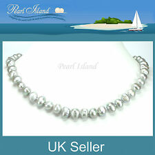 Large Silver Grey Freshwater Baroque Pearl Necklace, Ideal Gifts by Pearl Island