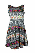 New Womens Miso Flower Aztec Low V Back Ladies Skater Party Dress  8,10,12,14,16