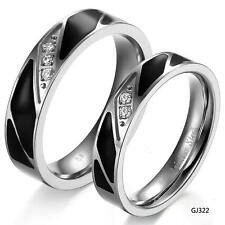 A Pair Stainless Steel Couple rings Crystal Wedding Promise Rings Super Gift 322