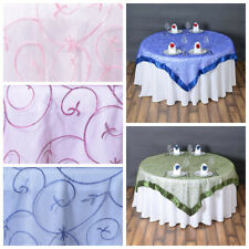 "6 pcs 72x72"" Embroidered Sheer Organza Table Overlay Wedding Party Decorations"