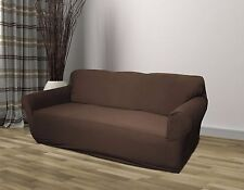 BROWN JERSEY SOFA STRETCH SLIPCOVER, COUCH COVER, FURNITURE SOFA, KASHI HOME