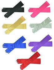 "16"" Long Satin Stretch Gloves Above Elbow Bridal Prom Wedding Formal 9 Colors"