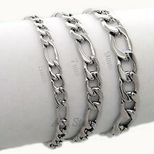 5/7/9mm 316L Stainless Steel Curb Chain Bracelet 7-11""