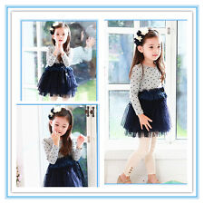 B114 Grey Navy Blue Polkadot Wedding Party Flowers Girls Dress SIZE 2,3,4,5,6,7T