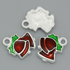 Wholesale Market Charm Pendants Enamel Christmas Bell Silver Plated 15x13mm