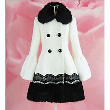 New Winter Womens Coat Black Collar double-breasted lace Long Jacket Overcoat