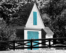 Barn door landscape black & white matted picture wall decor fine art photograph