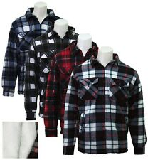 Mens Fleece Sherpa Lined Lumberjack Padded Check Shirts Winter Top Shirt