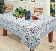 Creative Linens Crochet Lace Tablecloth White, 100% Cotton, Knitted, Rectangular