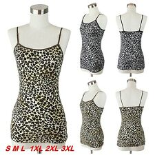 Women Cami Tank Top Animal Leopard Print Camisole Fitted Layering S M L 1X 2X 3X