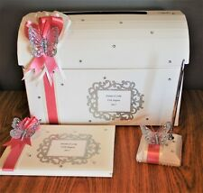 Personalised Diamante Butterfly Post Box Guest Book Pen Christening Baby Wedding
