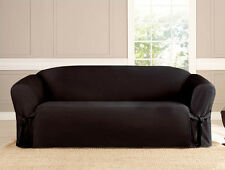 3 PC MICRO-SUEDE FURNITURE SLIPCOVER SOFA LOVESEAT CHAIR COUCH COVERS, BLACK
