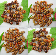 Lot of 100pcs Mixed Round & Oval Charms Wood Beads Many Sizes & Shapes
