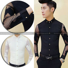 Punk Men Super Sexy Unique See Through Flower Cool Long Sleeve Casual Shirt Top