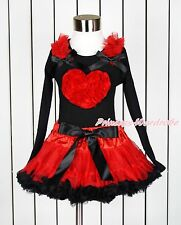 Valentine Romantic Rose Heart Black Pettitop Hot Red Black Pettiskirt Set 1-8Y