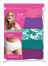 5 Pair Just My Size JMS Womens Plus Cotton Brief Wardrobe Panties Assorted Color