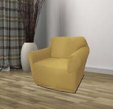 TAN JERSEY CHAIR STRETCH SLIPCOVER, COUCH COVER, FURNITURE CHAIR, KASHI HOME