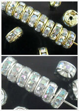 Free Ship 300Pcs Gold/Silver Plated AB Crystal Loose DIY Spacer Beads 8mm