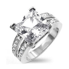6Ct. Clear Cubic Zirconia Princess Solitaire Ring,Rhodium Plated