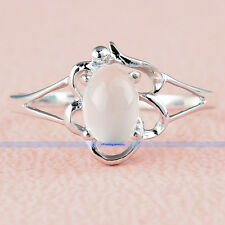 925 Sterling Silver Genuine 1CT Oval  Moonstone Ring Size 7 7.25 8 8.25