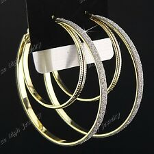 Fashion 12pairs Double Gold P Frosted Women Hoop Earrings Wholesale Jewelry Lots