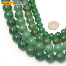 "Round green aventurine jade gemstone jewelry making beads 15"" 4/6/8/10/12mm pick"