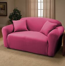 PINK JERSEY LOVESEAT STRETCH SLIPCOVER, COUCH COVER, FURNITURE LOVE SEAT COVER