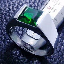 Sz 8-12 Deluxe Men's Princess Cut Emerald Gemstones 925 Silver Wedding Ring Gift