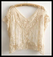 FREE GIFT +VTG HIPPIE Bohemian boho floral SHEER crochet LACE dress TOPS Blouse