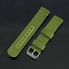 BLACK /GREEN 20 /22MM FABRIC WATCH WRISTWATCH STRAP BAND STAINLESS STEEL BUCKLE