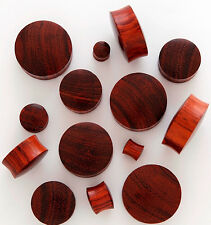 PAIR Red Tiger Wood Plugs Gauges - select size from 8g all the way up to 30mm