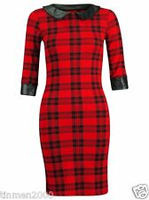 Ladies womens Check Tartan Peter Pan PVC Collar 3/4 Sleeve Mini Tunic Dress 8-14