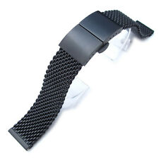 20mm 316L Stainless Steel Mesh Watch Bracelet,Solid End Lug,Dome Deploy clasp