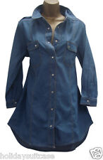 NEW LADIES WOMANS HI LOW DENIM LONG TOP TUNIC PLUS SIZE 14 TO 26 UK 100% COTTON